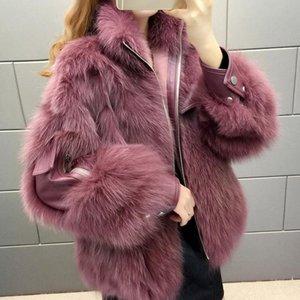 2020 Hot Sale Women Winter Coats Real Fur Jacket Real Leather Jackets Genuine Sheepskin Luxury Fur Fashion Coat Q230