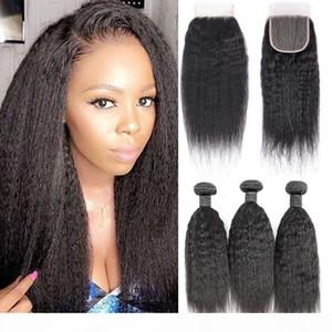 8a Yaki Kinky Straight Human Hair Pein 3 paquetes con una parte libre de cierre de encaje 4x4, 100% sin procesar Virgin Virgin Human Haave Haave Extensions