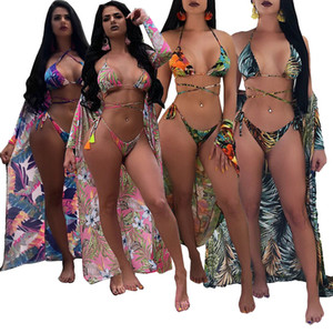 Frauen New Swimsuit Blume Bikini Drei Stück Set Multicolor Beach Cover Kleider Triangl Swimwear Push-up BH Badeanzüge Sexy Thongs