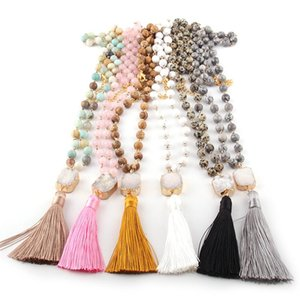 MOODPC Fashion Bohemian Jewelry Stone Rosary Chain Square  Oval Druzy Link Long Tassel Necklaces Women Ethnic Necklace