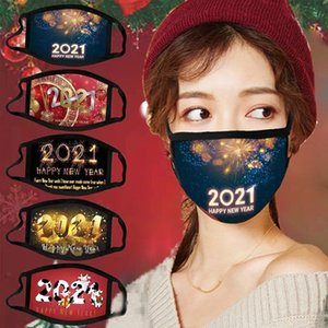 New year's cotton cloth Face Mask New Year Christmas 2021 printing mask Winter outdoor sport cold proof mask Designer Masks FF501