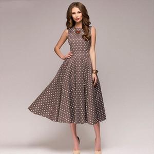 Elegant Swing Dress Vintage Polka Dots Party Dresses Lady Sleeveless O neck Retro Midi Dress Robe Female