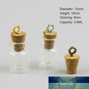 50 X Empty 0.6ml Cute Mini Messages Wishing Glass Bottle Vials Charms Pendants 0.6cc Clear Transparent Bottles
