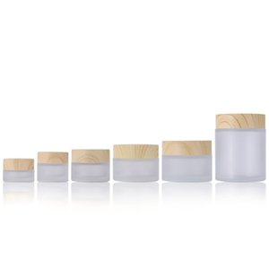 Frosted Glass Jar Cream Bottles Round Cosmetic Jars Hand Face Packing Bottles 5g 10g 15g 30g 50g 100g Jars With Wood Grain Cover 259 N2
