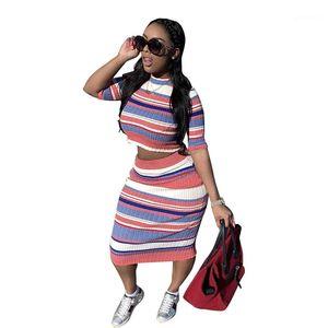 Womens Trainingsanzüge Womens Striped Print 2 Stück Kleid Slim Kurzarm Tshirt Kleider Sets Casual Mode