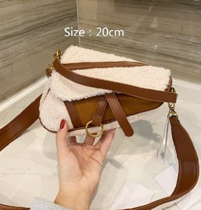21 أكياس سرج مصمم جديد أزياء الرهمة خروف الشعر الاتجاه رسول حقيبة الكتف عالية الجودة نسائية حقيبة يد المرأة WF2012182-