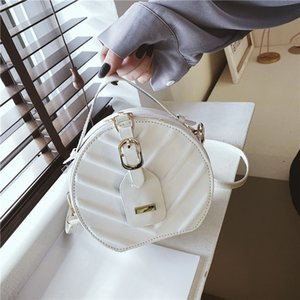 Fashion bag women's round cake handbag fashion foreign style women's leaf grain Crossbody