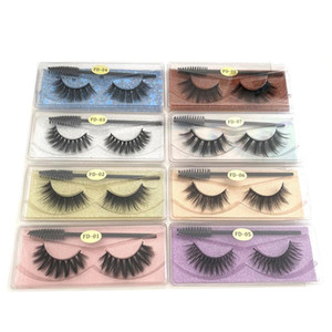 New Styles Natural False Eyelashes Soft Light False 3D Mink Eyelash Glitter Eyelash Extension Mink Lashes with Eyelash Tweezer Brush Makeup