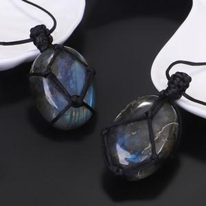 Stein Labradorit Natürliche Anhänger Wrap Braid Yoga Macrame Halskette Männer Frauen Energy Moonlight Stones Schmuck Ujo5