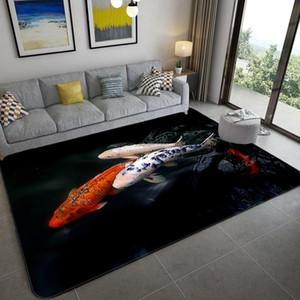 Carpets Nordic Luxury Animal Black 3D Carpet Living Room Decoration Home Fish Leopard Pattern Rug Bedroom Flannel Mat Bathroom Floor