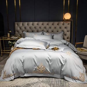 60S Egyptian cotton Bedding Set Embroidered solid color duvet cover bed linen wedding hotel pillowcases fitted sheet flat sheetl Z1126