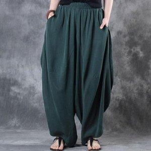 Plus Size Elastic Waist Loose Wide Leg Pants Woman Cotton Linen Vintage Solid Baggy Harem Pants Trousers Pantalon Femme