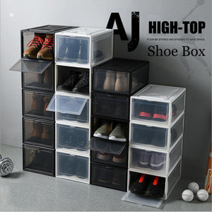 Assembly Shoe Storage Box Plastic Transparent Basketball Shoes Case Collection Display Shoe Cabinet Sneakers Flip Cover Men Women Shoe Boxes