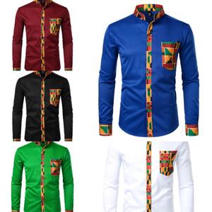 Даники африканская мужская рубашка лоскутная карманная кармана африканская печатная рубашка мужчины анкара стиль длинный рукав дизайн воротник мужские платья рубашки J1216