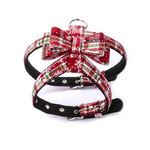 Pet Cat Dog Harness with Leash No Pull and Leash Set Ajustable Pet Vest with Adorable Christmas Bow Tie for Small Medium Puppy Kitte