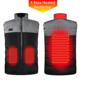 New 4 Zone Double Key Heated Vest Winter Hunting Unisex Men USB Rechargeable Electric Thermal Jacket