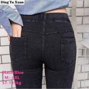 Plus Size 5XL 6XL Womens Elastic Waist Skinny Denim Leggings Mujer Women Stretch Faux Jeans Leggins Push Up Capri Pants Pockets Q1123