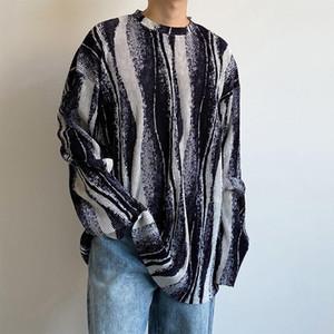 Korean Style Mens Striped T Shirt Fashion Long Sleeve Retro Casual O-neck T Shirt Men Streetwear Wild Loose Autumn T-shirt Mens Tops