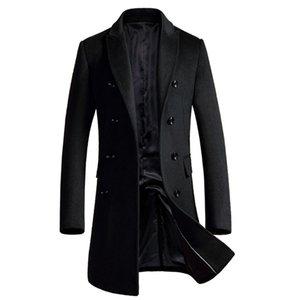 Shan Bao Manteau de laine de la marque Shan Bao Manteau de laine d'automne et d'hiver Entreprise à double boutonnage Manteau Casual Black Gris Red 201222
