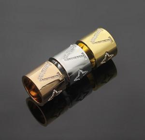 Diseñadores marca V forma de titanio con anillo de diamante 18k joyería de oro rosa 3 color hombres y mujeres astillas anillo de bodas regalo judío