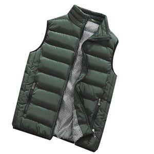 Men Down Vest Autumn Winter Coat Fashion Solid Stand Collar Waistcoat Warm Men Jacket Male Outerwear Black Green Vest Erkek Mont