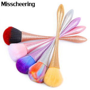 Gradiente Colorido Cepillo de uñas Limpieza Quitar Polvo Matte Manija Nail Art Manicure Pedicura Polvo suave Limpie los pinceles Herramientas de maquillaje