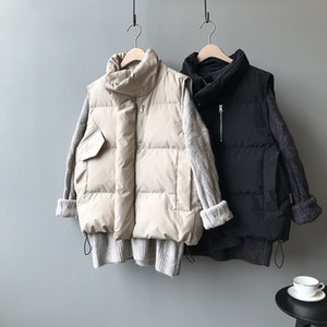 HXJJP Women's Korean Style Solid Sleeveless Winter Keep Warm Winter Vest Coat Single Women Breasted Loose Thick Fashion Vest 201125