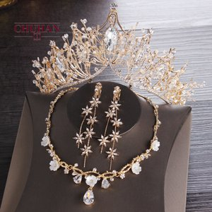 CHUHAN Luxury Bridal Necklace Wedding Jewelry Sets Pearl Tiara Crown Earrings Set Birthday Party Women Accessories J360 Q1123