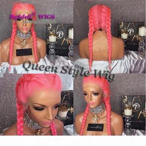 Trendy Double Dutch Treccia Acconciatura Parrucca Treccia Trecce Trecce Parrucca anteriore del pizzo Parrucca piena pizzo sintetico rosa capelli intrecciati parrucche di pizzo per le donne