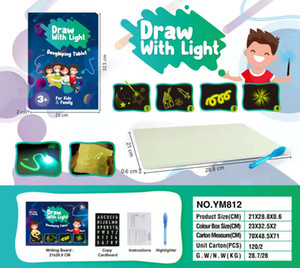 Draw With Light Fun fluorescent painting board luminous board children's luminous 3D painting writing board cross-border