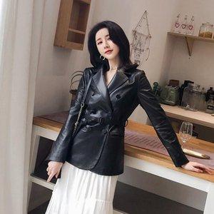 Женская кожаная искусственная женщина пальто натуральные овчины 2021 мода женские ветровка куртки натуральные кожи свободный ремень