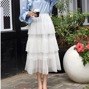 OllyMurs Women Long Pleated Skirt Spring Summer Mesh Tiered Skirts Female Multi-layer Maxi Skirts Korean Fashion Casual Faldas J0118