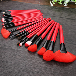 24pcs set Red Makeup Brushes With Leather Case Soft Synthetic Hair Blush Eyeshadow Lips Make Up Brush For Beginner Brush