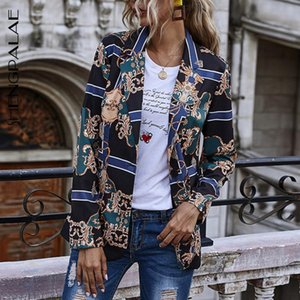 SHENGPALAE Printed Blazer For Women 2020 Autumn New Turn-dwon Collar Single Breasted Long Sleeve Trendy Sim Fit Suit Coat 5A710
