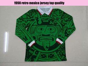 Yetişkin 1998 Meksika Retro Vintage Uzun Kollu Yeşil Futbol Forması Üniformaları Beyaz Jersey Gömlek Nakış Logo Longsleeve Camiseta Futbol