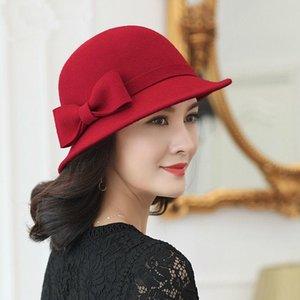Best Mother Gift Women Winter 100% Wool Felt Cloche Hats Lady Elegant Up-turn Brim Bowknot Fedora Hat