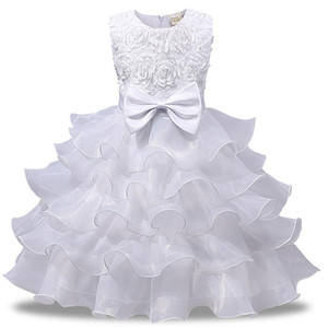 Children Princess Dress Flower Bow Girls Party Wedding Clothing Kids Ball Gown Dresses for Girl Summer Baby Toddler Teen Costume