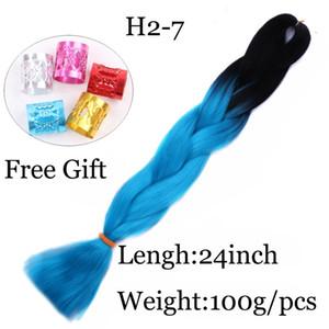Jumbo trenzado sintético pelo suave dreads caja extensión trenza 24 pulgadas negro luz # Ombre dos tonos color trenzado