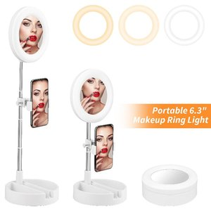6.3 Inch Retractable Foldable Ring Light With Mirror USB LED Selfie Ring Light With Phone Holder For Makeup Youtube Live Stream