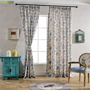 중국어 스타일 Datang Tsing Yi Cotton Linen Linen Blackout 커튼 거실 용 블루 침실 드레이프