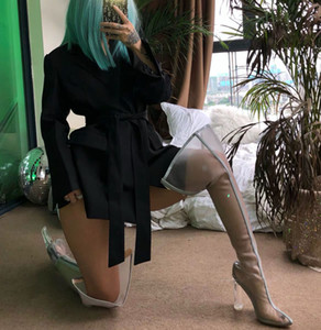 Summer Spring Women Over The Knee Boots Sexy Neon Green Mesh Thigh High Botas Femenino Pointed Toe Night Party Boots Mujer