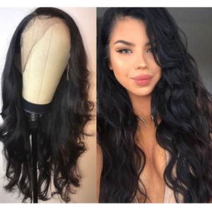 10-26inches Ladies front lace free split long curly hair natural black fluffy big wave chemical fiber hair wavy wig Synthetic hair Lace wigs