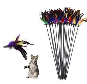 Bell feathers Pet tease cat and stick Color interactive teasing cat toys Fishes deity to amuse the cat pole