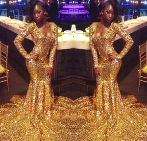 Sparkly Gold Sequins Prom Dresses 2021 African Mermaid Long Sleeves Black Girls Prom Dress Women Sexy Evening Party Gowns