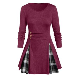 European and American Womens Clothing round Neck Long Sleeve Plaid Large Hem Front Decorative Buckle Foreign Trade Cross-Border Large Size R