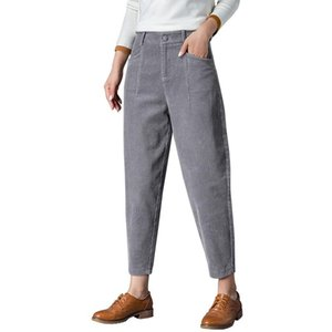 2021 100% Harem Cotton Corduroy New Autumn Fall Trousers Women Casual Ankle-Length Pants Zipper Flat Womens Clothing
