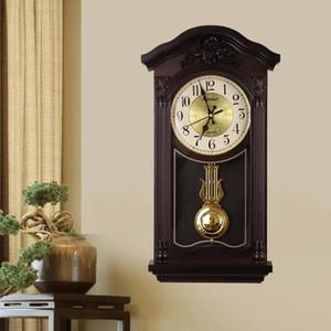 Large Chinese Wall Clock Vintage Luxury Living Room European Pendulum Clock Wall Antique Retro Pendule Mural Wood New