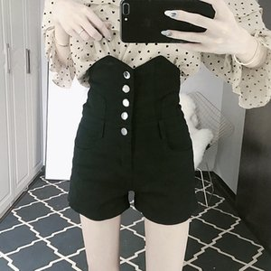 High waist breasted denim shorts women's new fashion fashion brand in summer 2020