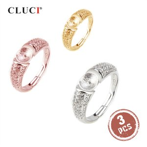 CLUCI 3pcs Sterling Pearl Mounting for Fine Ring Jewelry Silver 925 Adjustable Women Zircon Rings SR2008SB Z1202