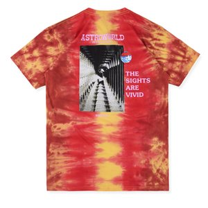 19SS Travis Scott Astroworld Festival Run Tie Dye Tee Tie dyed short sleeve Printing Fashion Street Skateboard Breathable Casual HFSSTX012